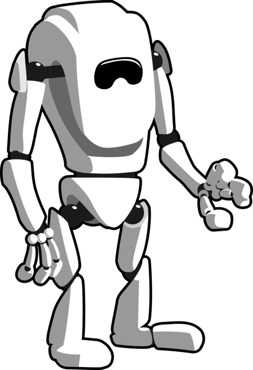 Vacuum transparent black and white. Robot android art free