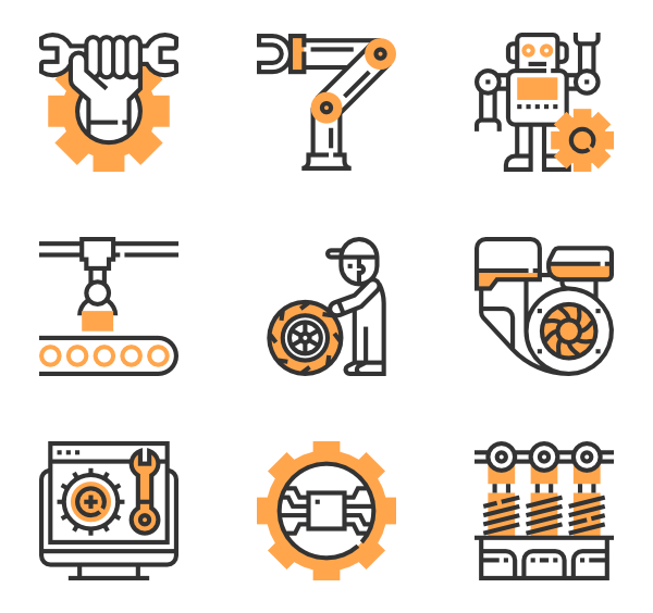 Vector robots robotic arm. Robot icons free mechanical