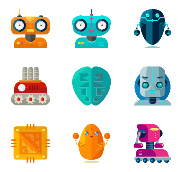 Vector robots. Robotics icon packs