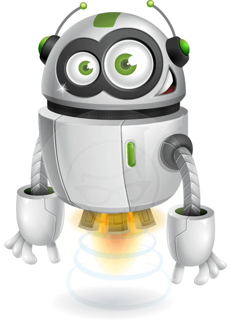 Vector robots cartoon. Robot character rory aerobot