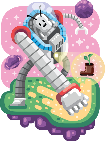 Vector robots flat. Crazy nerdy murals on