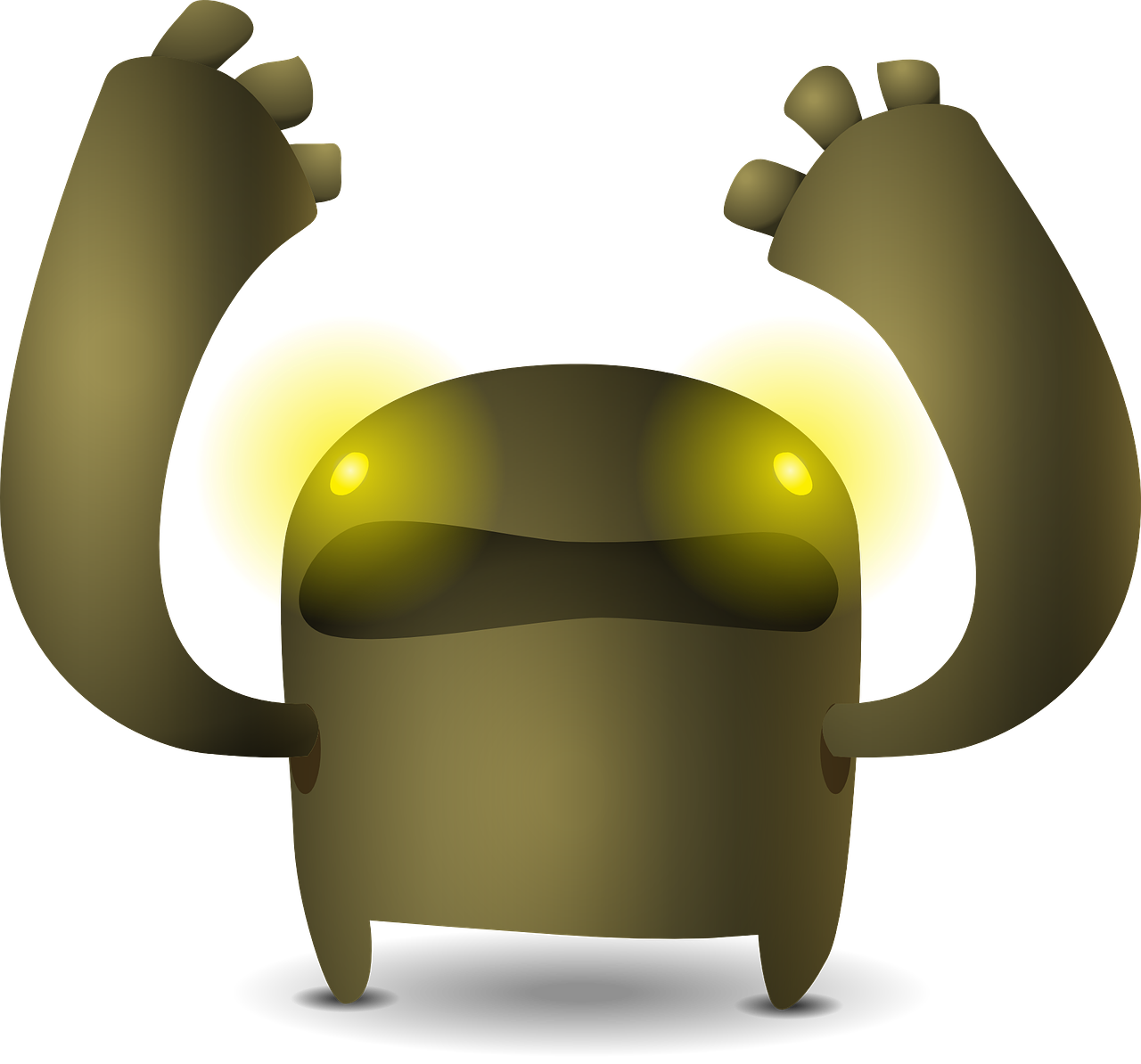 Vector robots robot character. Creature brown arms eyes