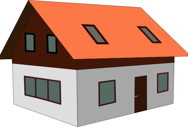 Vector roof rumah. Red house clip art