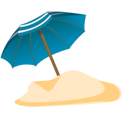 Vector sand summer. Parasol icon blue iconset