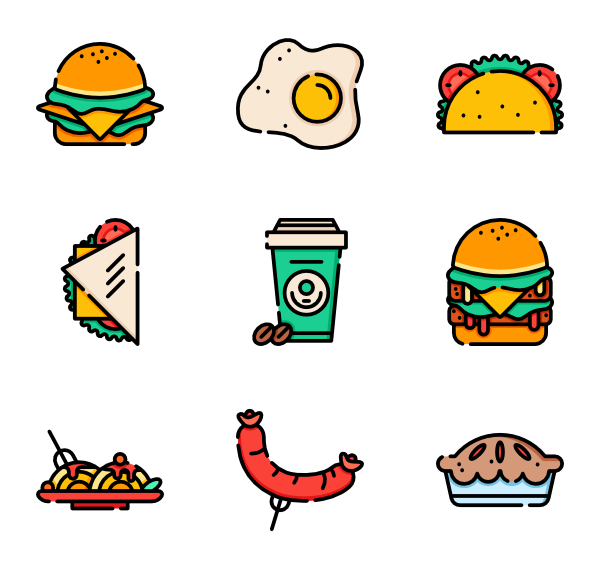 Vector sandwich junk food. Icons free fast