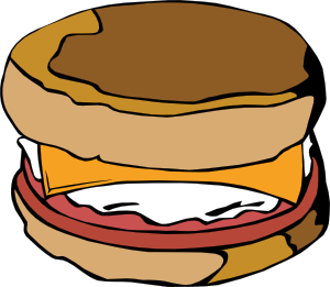 Vector sandwich cartoon. Fast food breakfast ff