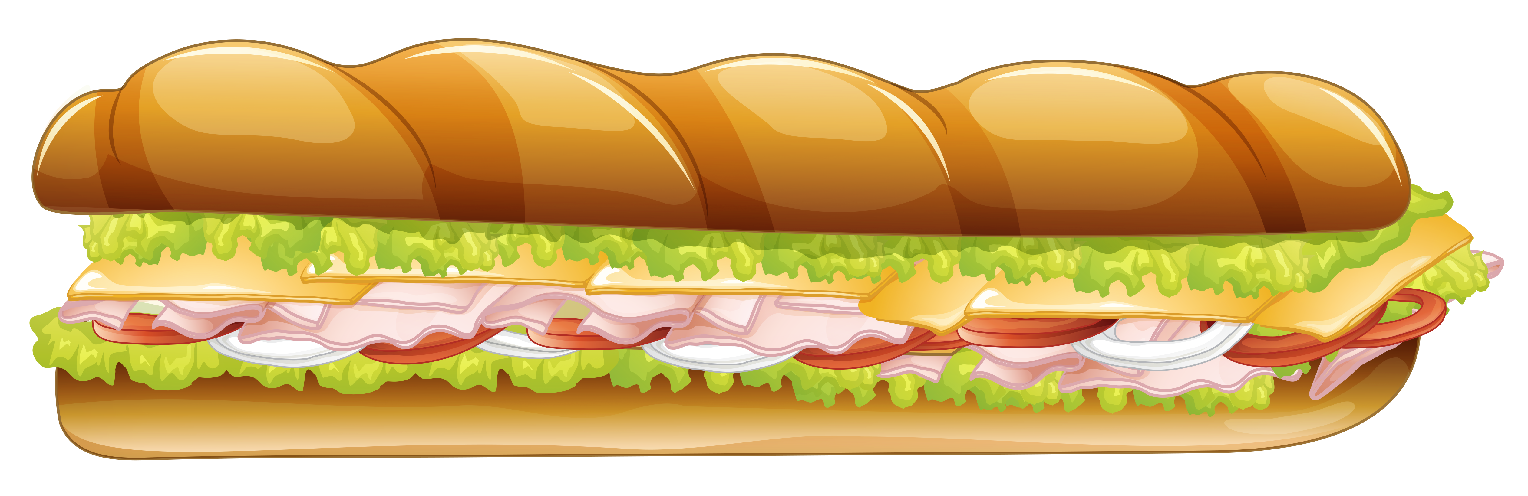 Vector sandwich meal. Round encode clipart to