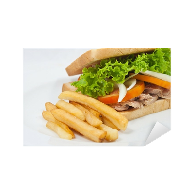 Vector sandwich tuna. French fries with sticker