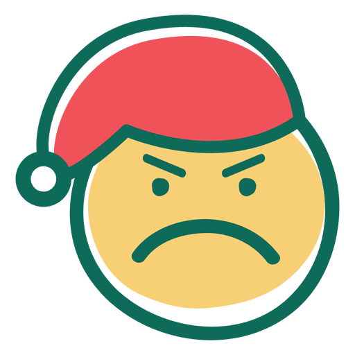 Vector santa angry. Claus hat face emoticon
