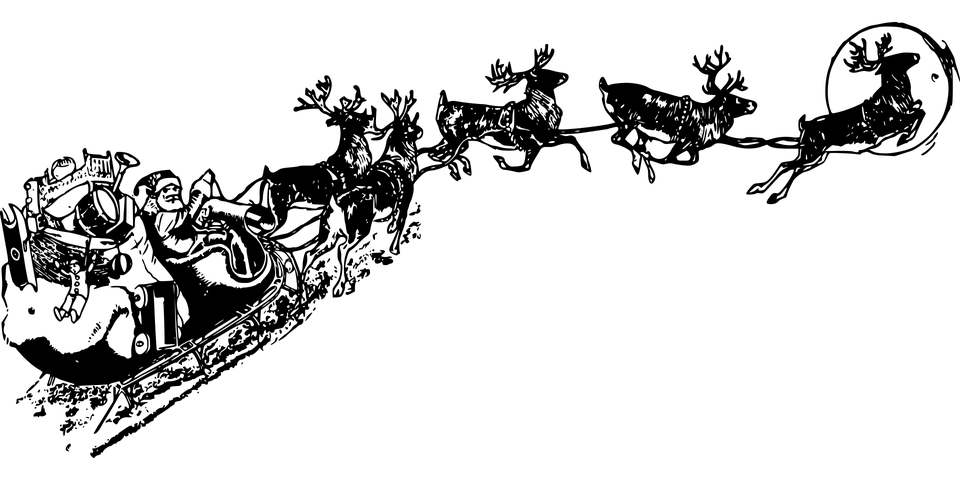 Vector santa black and white. Claus sleigh transparent png