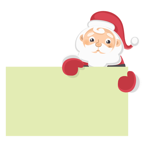 Vector santa board. Claus holding text transparent