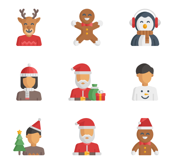 Vector santa buff. Claus icons free christmas