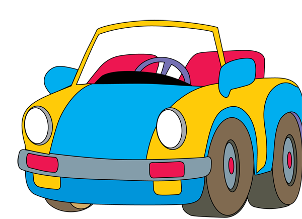 Vector santa in car. Auto clipart free images