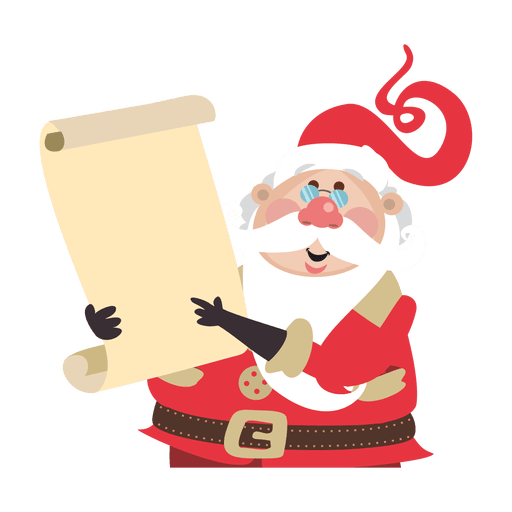 Vector santa scroll. Claus holding transparent png