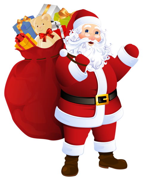 Vector santa transparent. Claus with bag of