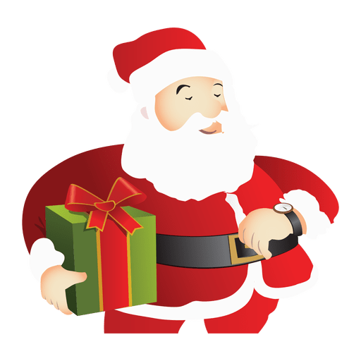 Vector santa transparent. Claus holding gift png