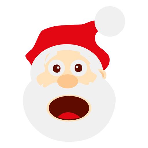 Vector santa angry. Funny surprised emoticon transparent