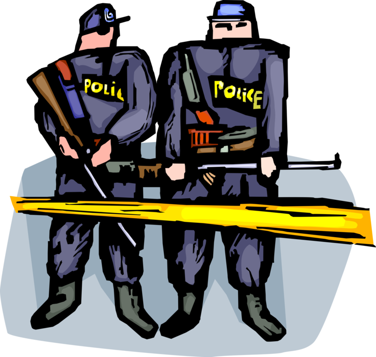 Vector securities security guard. Police officer stands image