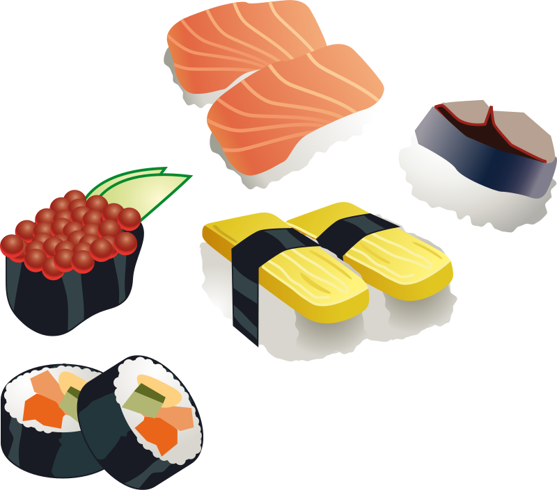 Vector set food. Pack png sushi by