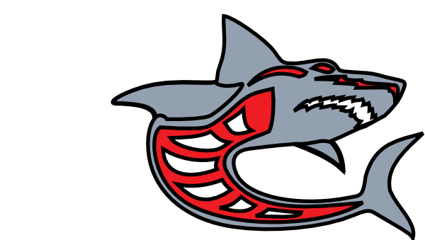 Vector sharks shark eye. Ashed grey red by