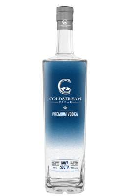 Vector shot bottle. Premium vodka coldstream clear