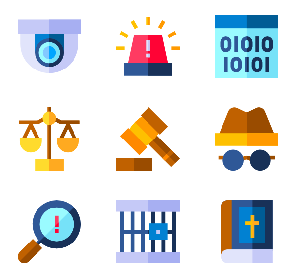Vector securities flat. Law icons free crime