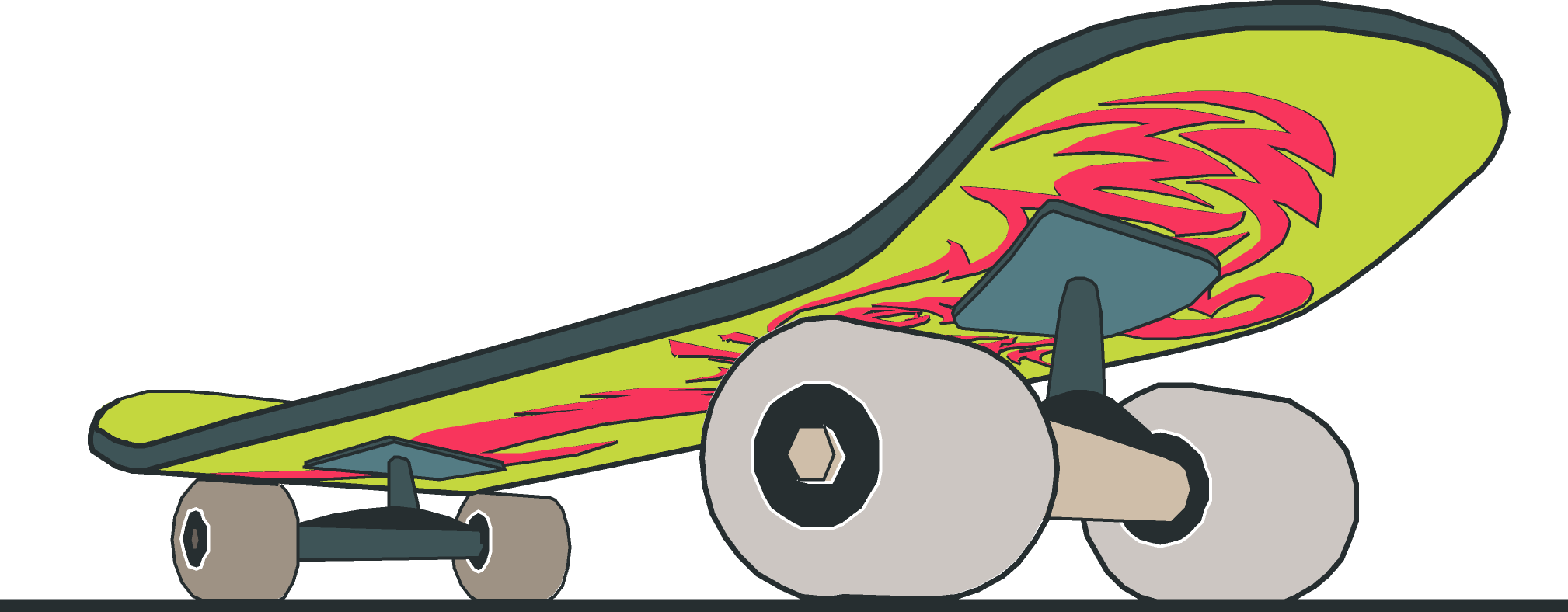 Vector skate cool design. Skateboard close up with