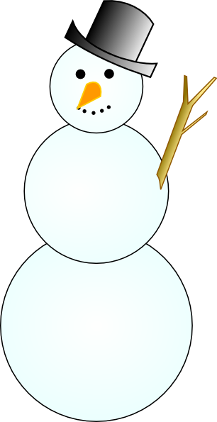 Vector snowman black and white. Another clip art at
