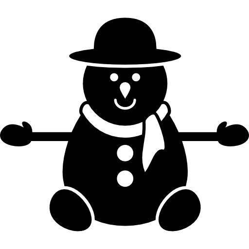 In version icons free. Vector snowman black and white clip art transparent stock