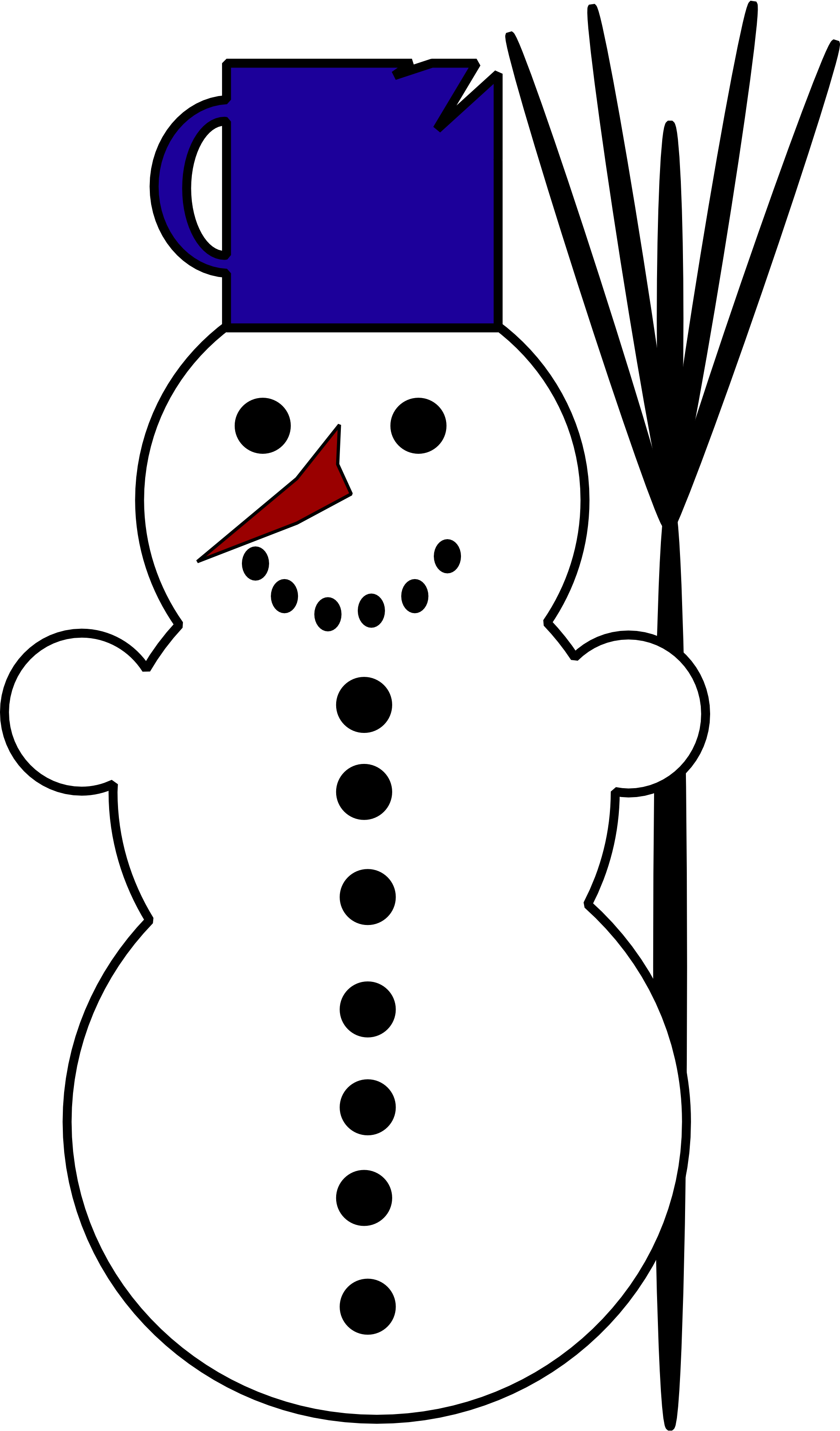 Vector snowman black and white. Machovka scalable graphics svg