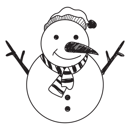 Vector snowman black and white. Hand drawn icon transparent