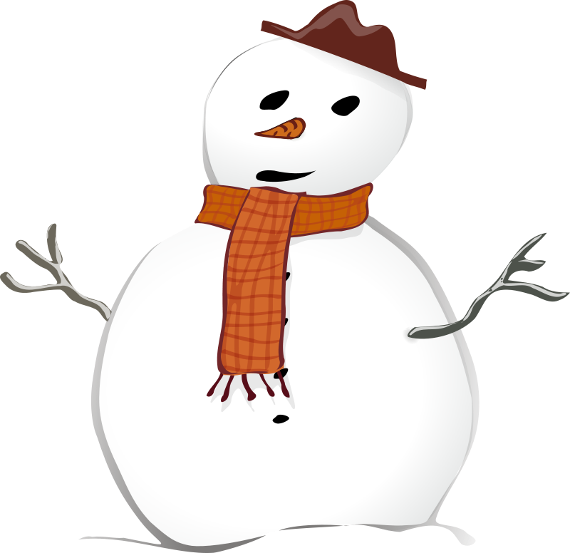 Vector snowman drunk. Free picture of a