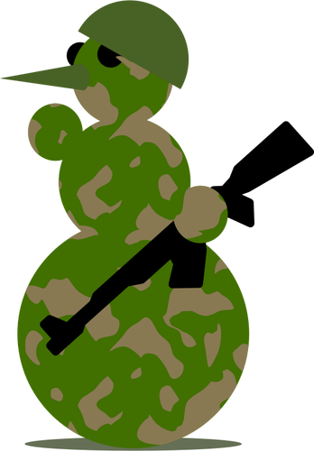 Vector snowman. Soldier graphics public domain