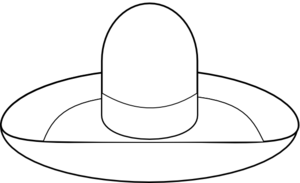 Vector sombrero black and white. Outline clip art at