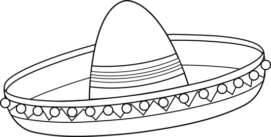Vector sombrero outline. Mexican line art free
