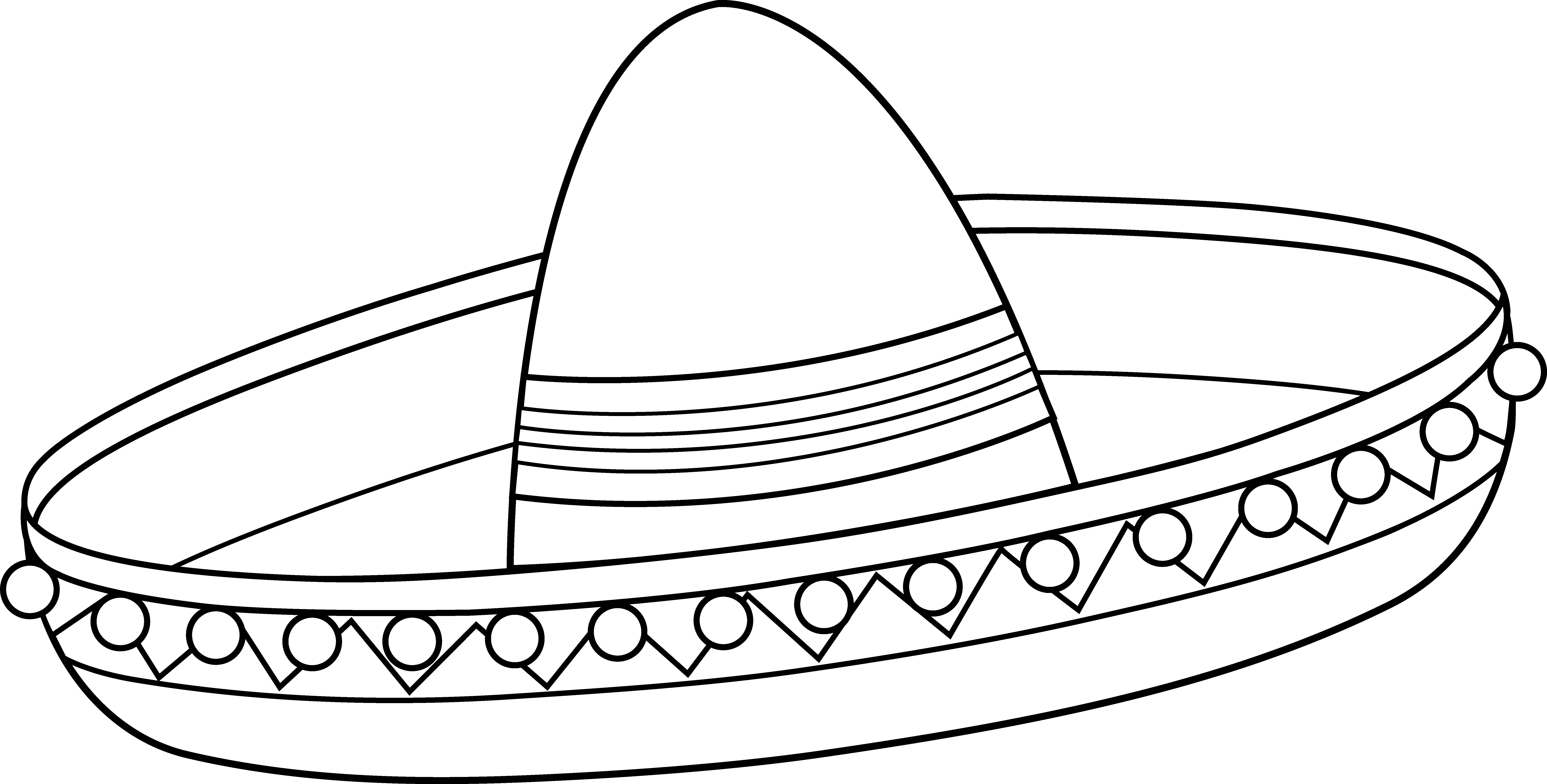 Vector sombrero printable. Mexican coloring page first