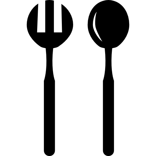 Vector spoon side view. Fork and for salad