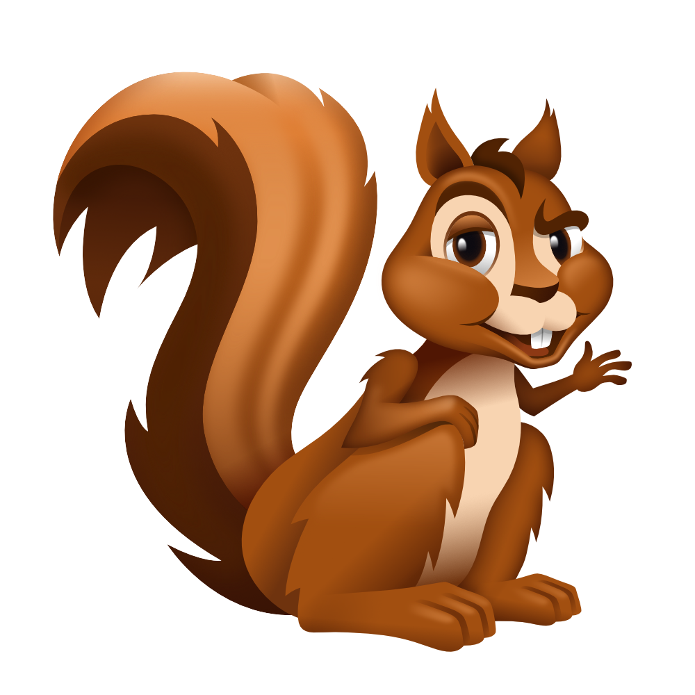 Vector squirrel. Nutty logo illo on