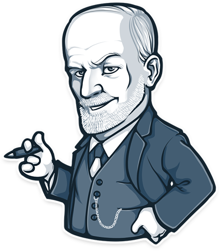 Vector stickers telegram. Sigmund freud launched a