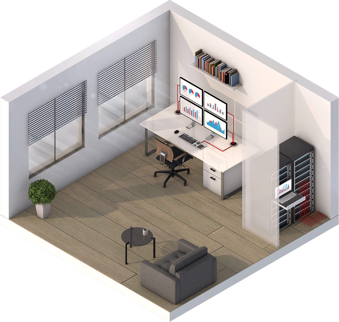 Vector offices isometric. Banking trading
