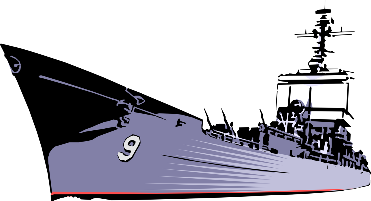 Vector style cruiser ship. Naval military vessel image