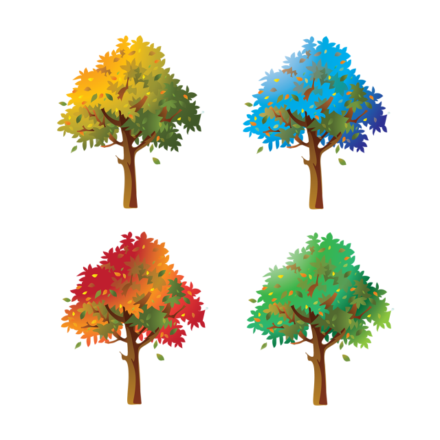 Vector style realistic. Trees collection nature forest