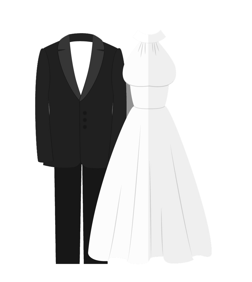 Vector suit wedding. Dress and tux png