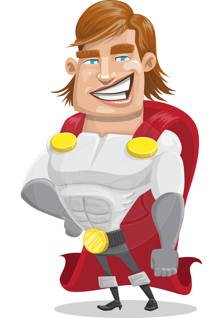 Vector superhero character. Cool male captain millennia