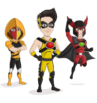 Vector superhero character. Creation kit save the