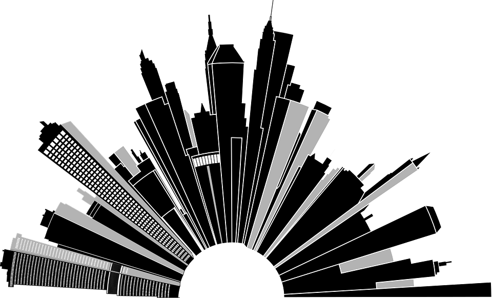 Vector superhero skyline. Comic book cityscape jpg