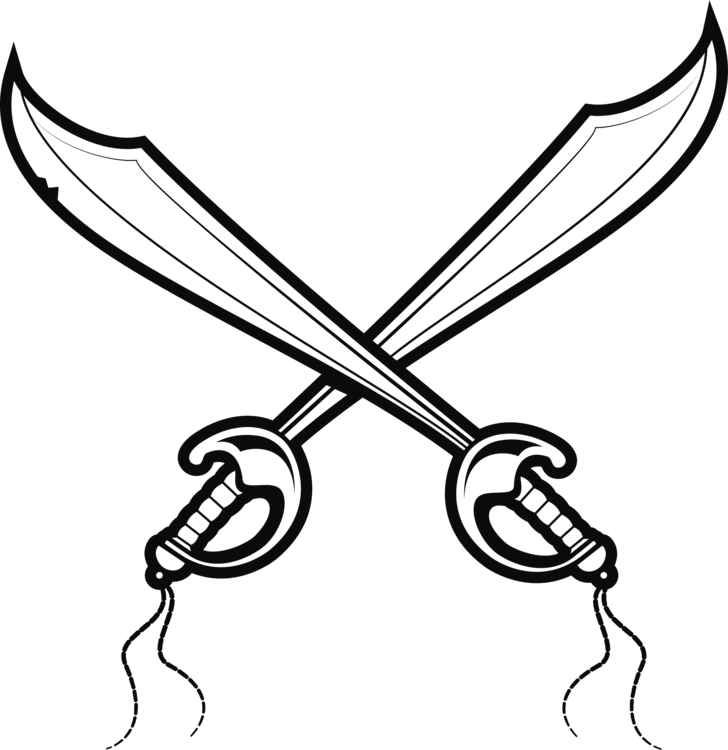 Vector swords cutlass. Drawing pirate sword sabre