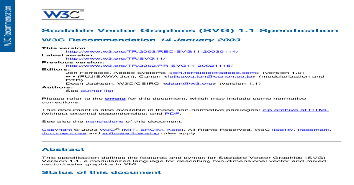 Svg syntax. Scalable vector graphics specification
