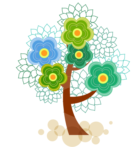 Colorful vector tree. Abstract syntax transprent png