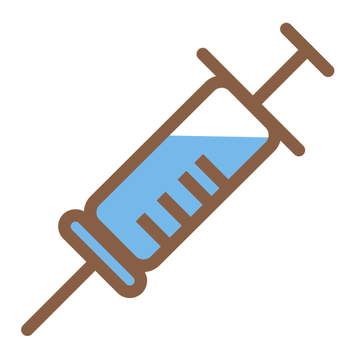 Vector syringe red medical symbol. Vaccine icon with png